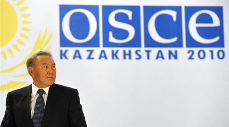 Kazakh President Nursultan Nazarbayev holds a final press conference of the Organisation for Security and Cooperation in Europe (OSCE) Summit in Astana in the early hours of December 3, 2010. The first summit of the OSCE in over a decade failed in its aim to agree an action plan to revamp the trans-Atlantic security group's powers to react to crises, an EU diplomat said.Diplomats said that efforts to find a deal had been torpedoed by disagreements over Georgia, with whom Russia fought a war in 2008, and the Armenia-Azerbaijan dispute over the Nargorny-Karabakh region.    AFP PHOTO/ VYACHESLAV OSELEDKO